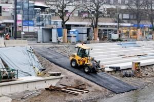 Die neu angelegte Asphalt-Ersatzrampe