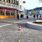 Der erste Teil der Brüder-Busch-Straße mit dem neuen Natursteinpflaster wurde freigegeben.