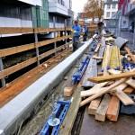 Gut zu erkennen: Der neu gegossene Betonbalken links im Bild.