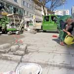 In der Bahnhofstraße starteten heute (Mittwoch, 20. April 2016) die Arbeiten für die neuen Spielpunkte.