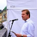 Bürgermeister Steffen Mues ließ in seiner Rede die einzelnen Bauphasen der Stufenanlage noch einmal Revue passieren.